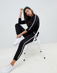 Asos Design Tracksuit Cute Sweat Basic Jogger With Tie With Contrast Binding Black