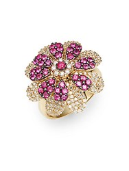 Effy Diamond Ruby And 14K Yellow Gold Flower Ring Gold Red