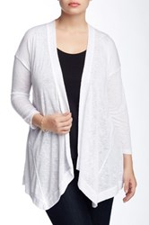 Bobeau Slub Knit Cardigan Plus Size White