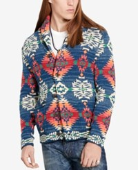 Denim And Supply Ralph Lauren Men's Southwestern Pattern Cardigan Blue