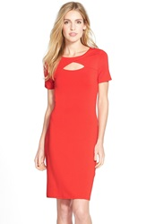 Vince Camuto Keyhole Detail Jersey Sheath Dress Regular And Petite Mars Red