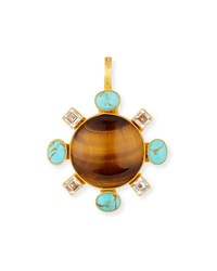 Dina Mackney Tiger's Eye Pendant With Turquoise And Topaz