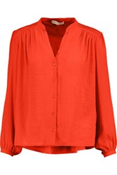 Maje Pintucked Crepe Blouse Tomato Red