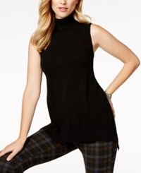 Charter Club Cashmere Sleeveless Turtleneck Sweater Created For Macy's Classic Black