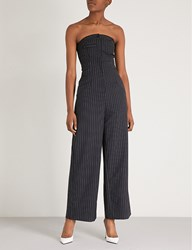 Moandco. Pinstriped Wool Jumpsuit Blue And White