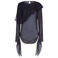 Vielma London Long Sleeve Sheer Frilled Top Blue