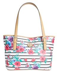 Giani Bernini Floral Stripe Tote Only At Macy's White Black Multi