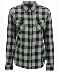 Levi's Women's Oakland Raiders Plaid Button Up Woven Shirt Black Gray
