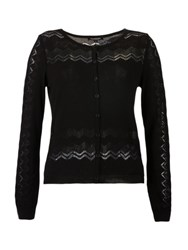 Morgan Openwork Knitted Cardigan Black