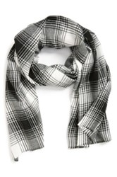 The Rail Plaid Woven Scarf Black