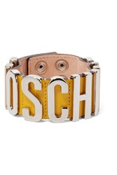 Moschino Patent Leather And Silver Tone Bracelet Yellow