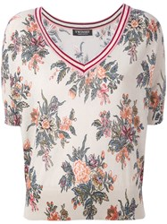 Twin Set Floral Shortsleeved Sweater Women Cotton L