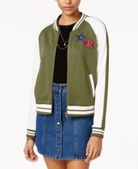 Almost Famous Juniors' Patch Knit Bomber Jacket Olive Combo