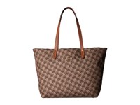 Lauren Ralph Lauren Bainbridge Tote Brown Logo Print Multi Tote Handbags