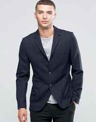 Sisley Slim Fit Wool Blend Suit Jacket With Patch Pocket Navy 901