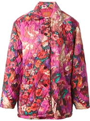 Kenzo Vintage 'Pegas' Print Quilted Coat Pink And Purple