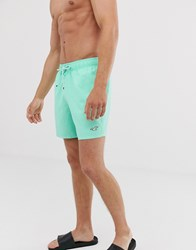 Hollister Icon Logo Solid Guard Swim Shorts In Mint Green
