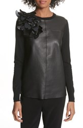 Ted Baker London Leather Front Sweater Black