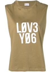 Red Valentino Encrypted Love Notes Print Tank Top Green