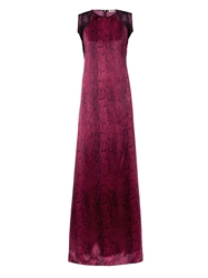 Nina Ricci Snakeskin Print Satin And Lace Gown