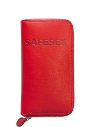 Anywhere Leather Wallet With Condom Pocket Red