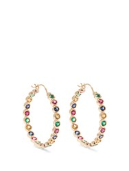 Alison Lou Emerald Ruby Sapphire And Gold Twister Earrings Yellow Gold