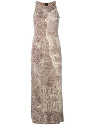 Jean Paul Gaultier Vintage Optical Printed Long Dress Nude And Neutrals
