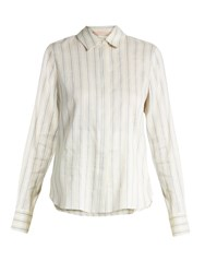 Brock Collection Baylee Striped Stretch Linen Shirt Blue Stripe