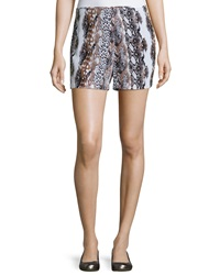 Equipment Lewis Animal Print Silk Shorts Bright Whi
