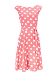 Wallis Coral Spot Fit And Flare Dress
