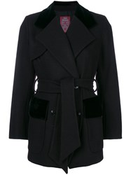 John Galliano Vintage Belted Double Breasted Coat Black