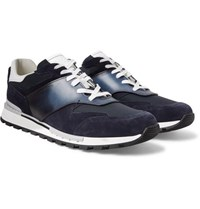 Berluti Fast Lane Leather Suede And Nylon Sneakers Navy