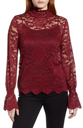 Everleigh Stretch Lace Top Burgundy