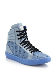 Mcm Logo Print Leather High Top Sneakers White Denim
