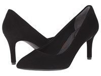Rockport Total Motion 75Mm Pointy Toe Pump Black Kid Suede High Heels
