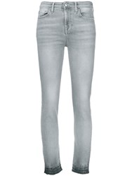 7 For All Mankind High Rise Skinny Jeans Grey