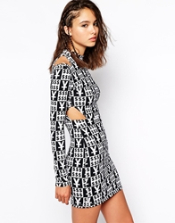 This Is A Love Song Body Con Dress With High Neck And Cut Out Shoulder Detail Multi