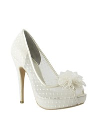 Menbur Adelia Flower Peep Toe Stiletto Pumps Ivory