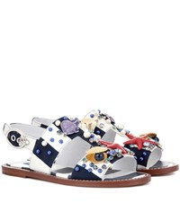 Dolce And Gabbana Striped Embellished Sandals White