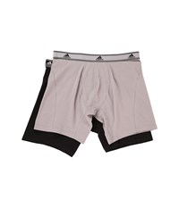 Adidas Relaxed Performance Stretch Cotton 2 Pack Boxer Brief Light Onix Black Men's Underwear