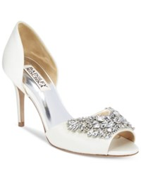 Badgley Mischka Candance Embellished D'orsay Pumps Women's Shoes Ivory
