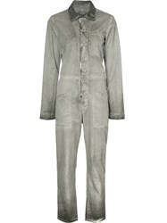 Rta Distressed Collared Jumpsuit Women Cotton 6 Grey