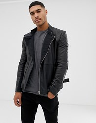 Bolongaro Trevor Quilted Leather Biker Jacket Black