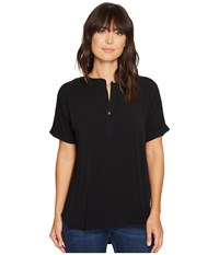 Allen Allen Tab Collar High Low Henley Top Black Women's Clothing