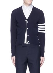 Thom Browne 'Trompe L'ail' Stripe Sleeve Cotton Cardigan Blue