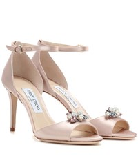 Jimmy Choo Tori 85 Satin Sandals With Clip On Crystals Pink