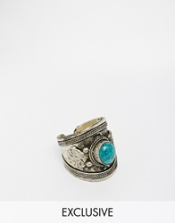 Reclaimed Vintage Western Blue Stone Ring Silver