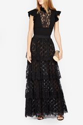 Elie Saab Women S Dot Lace Tiered Skirt Boutique1 Black