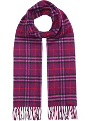 Burberry The Classic Vintage Check Cashmere Scarf Pink And Purple