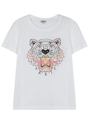 Kenzo White Tiger Print Cotton T Shirt